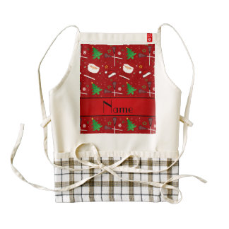 Personalized name red lacrosse christmas pattern zazzle HEART apron