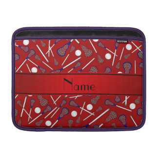 Personalized name red lacrosse pattern MacBook sleeves