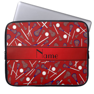 Personalized name red lacrosse pattern laptop sleeve