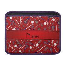 Personalized name red lacrosse pattern MacBook air sleeve