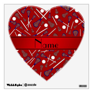 Personalized name red lacrosse pattern wall skins
