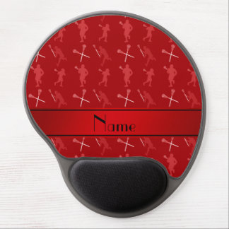 Personalized name red lacrosse silhouettes gel mouse pad