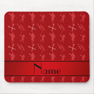 Personalized name red lacrosse silhouettes mouse pad
