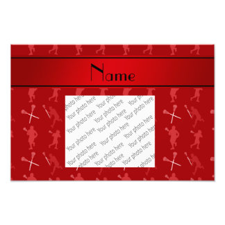 Personalized name red lacrosse silhouettes photo print