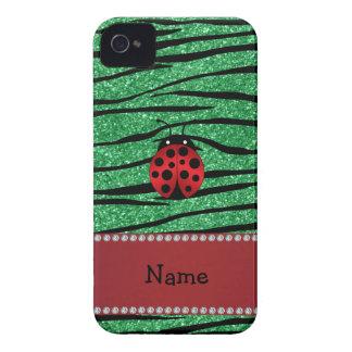 Personalized name red ladybug green zebra stripes iPhone 4 case