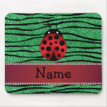 Personalized name red ladybug green zebra stripes mouse pad