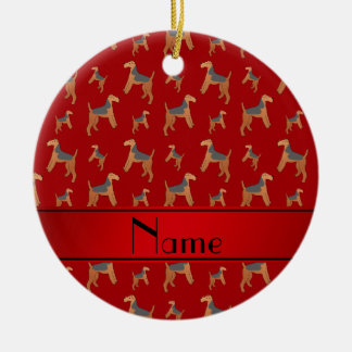 Personalized name red Lakeland Terrier dogs Ceramic Ornament