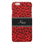 Personalized name red leopard pattern glossy iPhone 6 case
