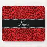 Personalized name red leopard pattern mouse pad