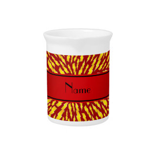 Personalized name red lightning bolts beverage pitchers
