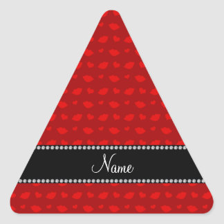 Personalized name red lips and hearts pattern triangle sticker