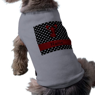 Personalized name red lobster black white polka do dog clothing