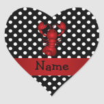 Personalized name red lobster black white polka do heart sticker