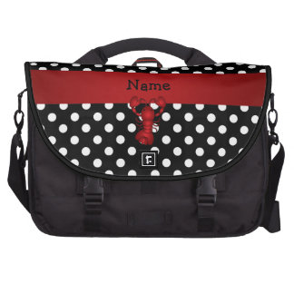 Personalized name red lobster black white polka do laptop bags