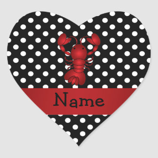 Personalized name red lobster black white polka do heart stickers