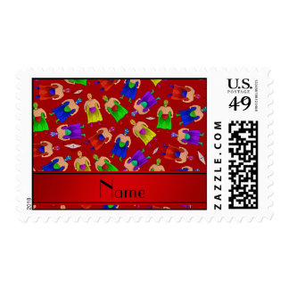 Personalized name red mexican wrestling postage