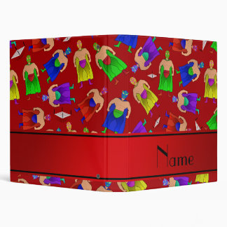 Personalized name red mexican wrestling vinyl binder