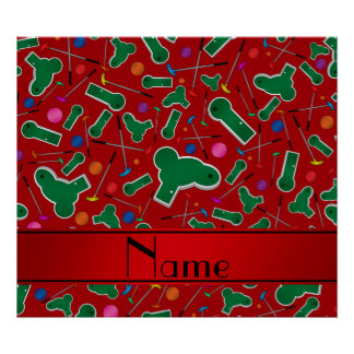 Personalized name red mini golf poster