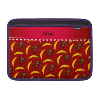 Personalized name red monkey bananas sleeve for MacBook air