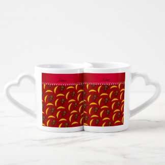 Personalized name red monkey bananas couples' coffee mug set