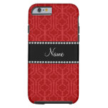 Personalized name red moroccan quatrefoil tough iPhone 6 case