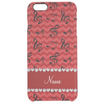 Personalized name red music notes chevrons clear iPhone 6 plus case