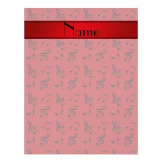 """Personalized name red music notes 8.5"""" x 11"""" flyer"""