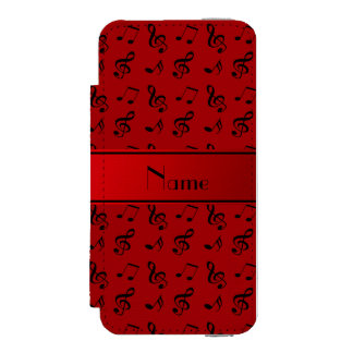 Personalized name red music notes incipio watson™ iPhone 5 wallet case