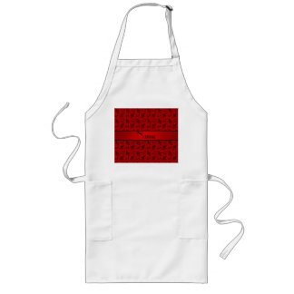 Personalized name red music notes long apron