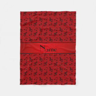 Personalized name red music notes fleece blanket