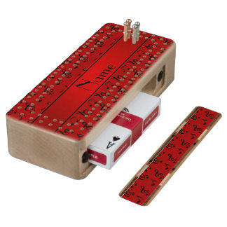 Personalized name red music notes maple cribbage board