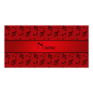 Personalized name red music notes customized photo card