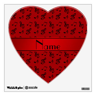 Personalized name red music notes room sticker