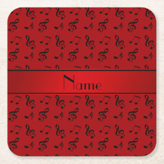Personalized name red music notes square paper coaster