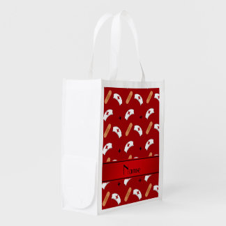 Personalized name red nurse pattern reusable grocery bag