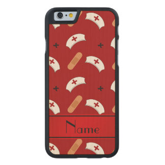 Personalized name red nurse pattern carved® maple iPhone 6 case