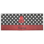 Personalized name red octopus black polka dots tyvek wallet