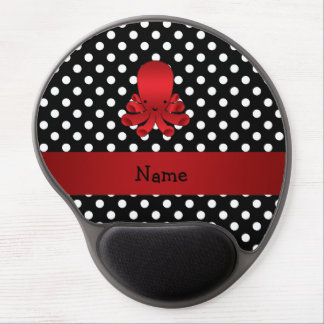 Personalized name red octopus black polka dots gel mouse pad