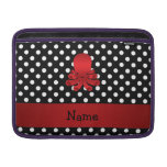 Personalized name red octopus black polka dots MacBook air sleeves