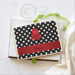 Personalized name red octopus black polka dots jumbo cookie
