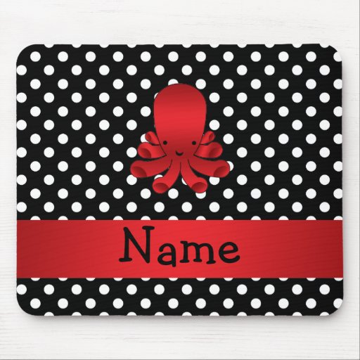 Personalized name red octopus black polka dots mouse pads