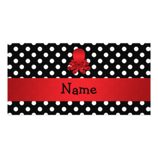 Personalized name red octopus black polka dots photo card