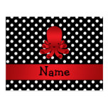Personalized name red octopus black polka dots postcards