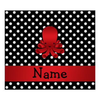 Personalized name red octopus black polka dots print