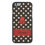 Personalized name red octopus black polka dots carved® maple iPhone 6 slim case