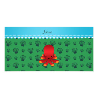 Personalized name red octopus green shells photo card