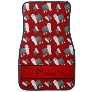 Personalized name red Old English Sheepdog dogs Car Mat
