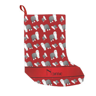 Personalized name red Old English Sheepdog dogs Small Christmas Stocking