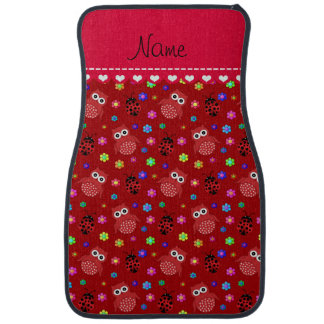 Personalized name red owls flowers ladybugs car floor mat