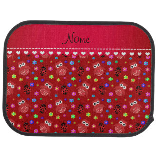 Personalized name red owls flowers ladybugs car mat